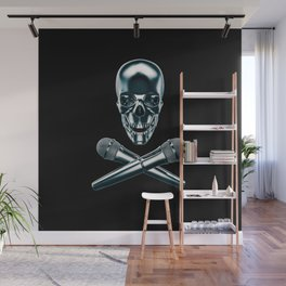 Pirate tunes / 3D render of skull and cross bones with microphones Wall Mural