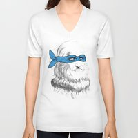 leonardo V-neck T-shirts featuring Leonardo by Nick Rees Illustration