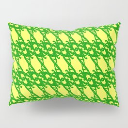 Braided diagonal pattern of wire and green arrows on a yellow background. Pillow Sham