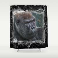 gorilla Shower Curtains featuring Gorilla by SwanniePhotoArt
