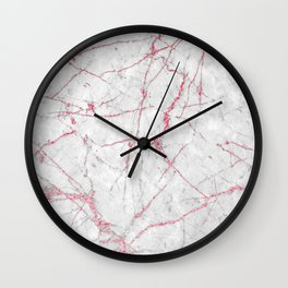 Pink Gold Glitter and Marble Wall Clock