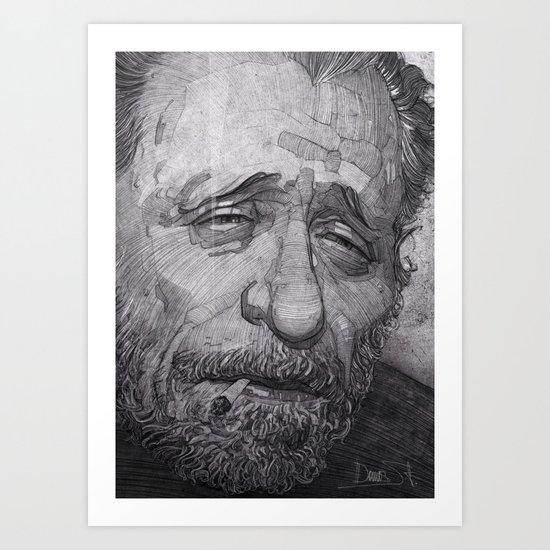 Charles Bukowski illustration portrait Art Print