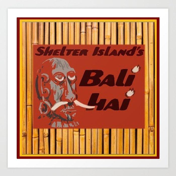 Tiki Art - Bali Hai on Bamboo Art Print