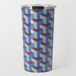 Cobalt Blue and Brown Geometric Marquetry Pattern Travel Mug