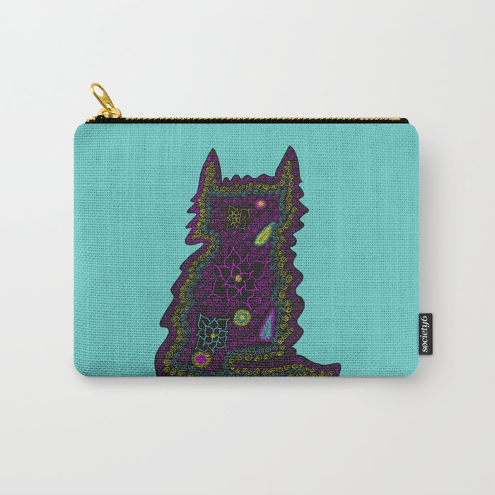 Black Cat With Roses Carry-All Pouch