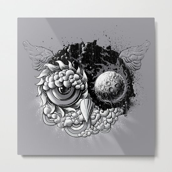 Owl Day & Owl Night Metal Print