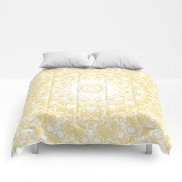 White Lace Mandala on Sunshine Yellow Background Comforters