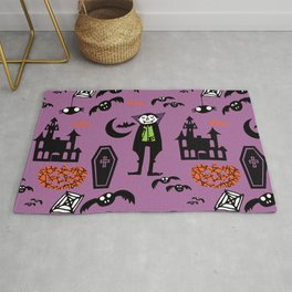 Cute Dracula and friends purple #halloween Rug