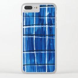 Blue Plaid Clear iPhone Case
