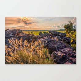 Sunset and Smoke from Controlled Burning at Ubirr Rock, Australia. Canvas Print