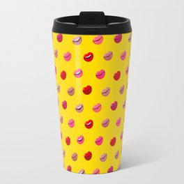 Red, pink and nude lips on yellow background pattern Travel Mug