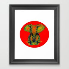 Elephant with Tiny Bird Framed Art Print