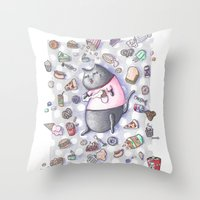 junk food Throw Pillows featuring Junk Food Coma Kitty by Frisky Fauna