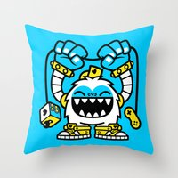 gaming Throw Pillows featuring Gaming Yeti by SAfdaf