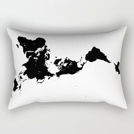 Dymaxion World Map (Fuller Projection Map) - Minimalist Black on White Rectangular Pillow