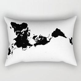 Dymaxion World Map (Fuller Projection Map) - Minimalist Black on White Rectangular Pillow