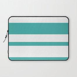 Mixed Horizontal Stripes - White and Verdigris Laptop Sleeve
