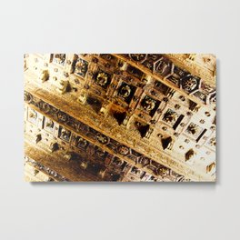 Roman Gold and Brown Warm Architectural Ceiling Art Metal Print