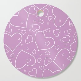 Lavender and White Hand Drawn Hearts Pattern Cutting Board