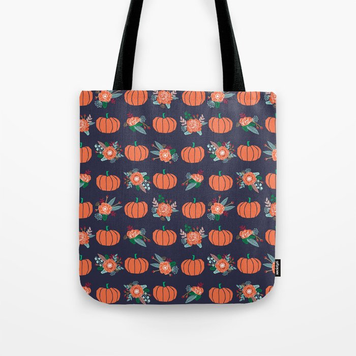 Pumpkin florals cute pattern pillow home decor dorm college seasonal fall autumn Tote Bag