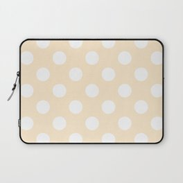 Blanched almond - pink - White Polka Dots - Pois Pattern Laptop Sleeve