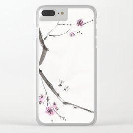 Plum Bossom and Bees Clear iPhone Case