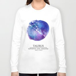 Taurus Watercolor Zodiac Constellation Long Sleeve T-shirt
