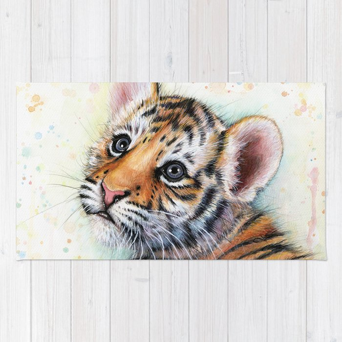 Nursery Artwork Tiger Cub Baby Animal Watercolor Jungle Safari Animals Rug