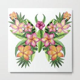 Tropical Summer Flower Butterfly Metal Print