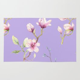Magnolia Spring Pattern Lilac Background Rug