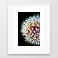 dandelion Framed Art Prints featuring Fractal dandelion by Mark Nelson