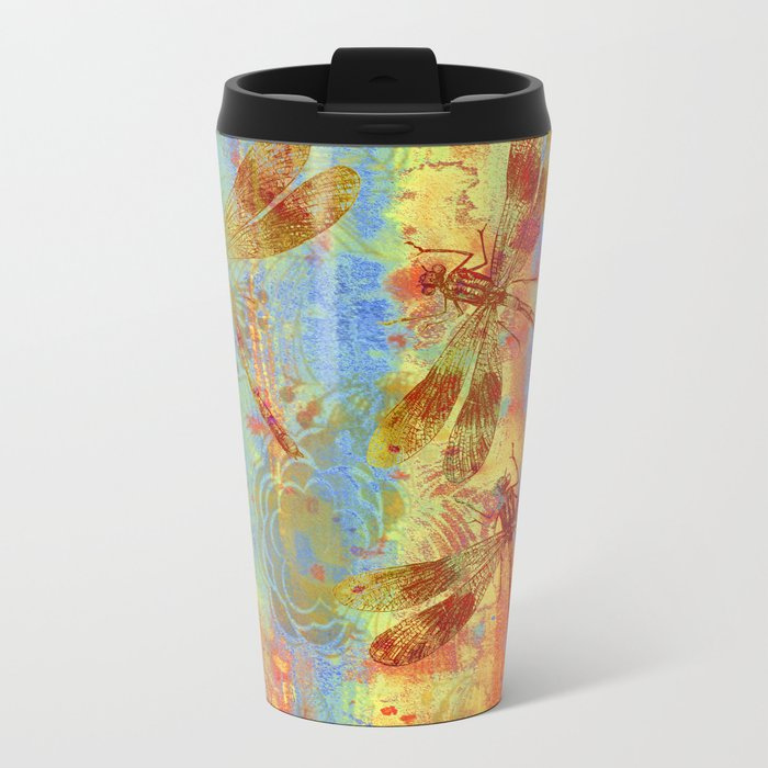 A Dragonflies QQW Metal Travel Mug