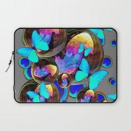 BLUE & GOLD  BUBBLES BLUE BUTTERFLIES PEACOCK EYES Laptop Sleeve