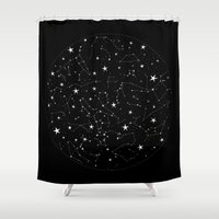 constellations Shower Curtains featuring Constellations by Rachel Buske