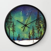 northern lights Wall Clocks featuring Northern Lights by Ruth Oosterman