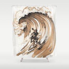 Coffee Art-Surfer Shower Curtain