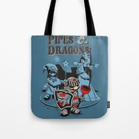 dungeons and dragons Tote Bags featuring PIPES & DRAGONS by Adams Pinto