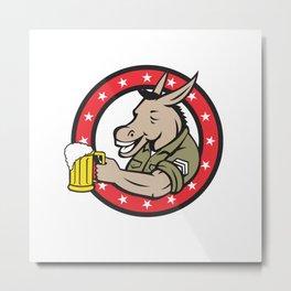 Donkey Beer Drinker Circle Retro Metal Print