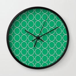 Jade Green Quatrefoil Pattern Wall Clock