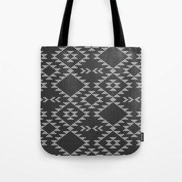 Southwestern textured navajo pattern in black & white Tote Bag