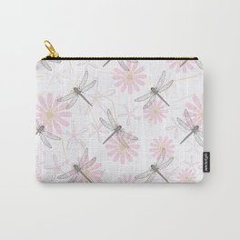 Floral pattern with dragonflies on a white background. Carry-All Pouch