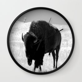 Bison On Open Range Wall Clock