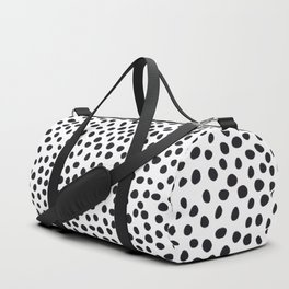 Hand Drawn Polka Dots, Spots Black &  White Duffle Bag
