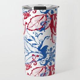 Blue and red Botanical Scandinavian Print pattern design by Arcos Prints Travel Mug
