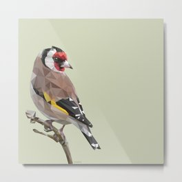 European goldfinch - Low poly digital art Metal Print