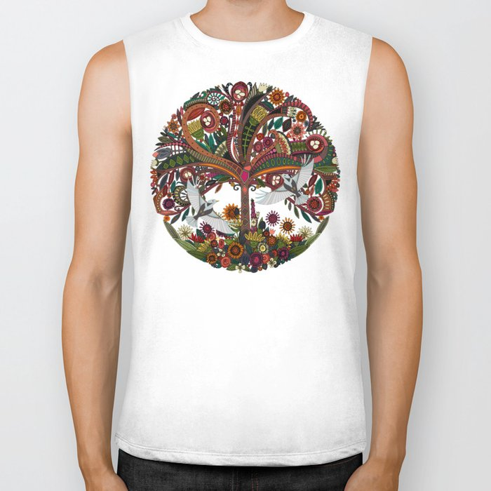 tree of life white Biker Tank