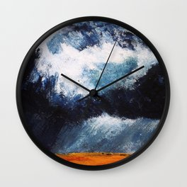 Storm Clouds Over Illinois Wheat Fields Acrylic On Canvas Wall Clock