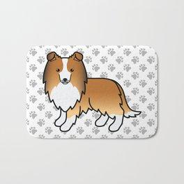 Sable Shetland Sheepdog Dog Cartoon Illustration Bath Mat