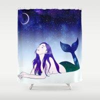 siren Shower Curtains featuring Starry Siren by Stevyn Llewellyn