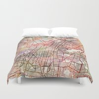 mexico Duvet Covers featuring Mexico by MapMapMaps.Watercolors